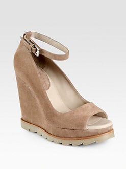 Brunello Cucinelli - Suede Ankle Strap Wedge Pumps