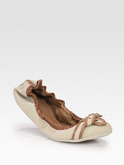 Burberry - Thompson Canvas & Leather Ballet Flats