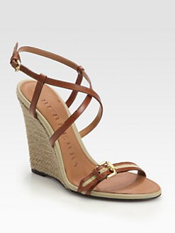 Burberry - Wyatt Leather & Canvas Raffia Wedge Sandals