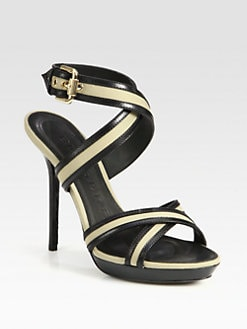 Burberry - Dalston Canvas & Leather Platform Sandals