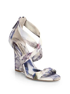 Burberry - Mustoe Ikat-Print Satin Wedge Sandals