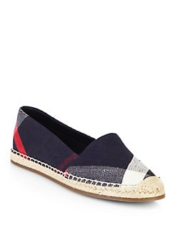 Burberry - Hodgeson Check Canvas Espadrille Flats