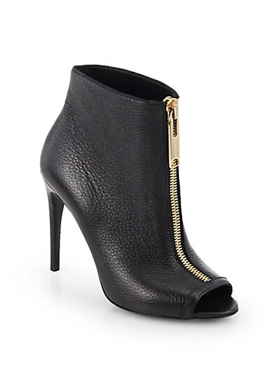 Brooksmead Leather Peep-Toe Ankle Boots
