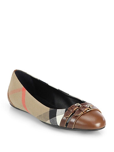 Burberry Avonwick Leather & Canvas Ballet Flats