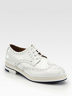 Giorgio Armani - Perforated Patent Leather Lace-Up Oxfords