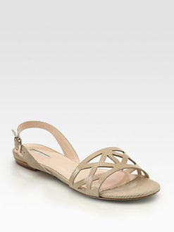 Giorgio Armani - Cutout Lizard-Print Leather Sandals