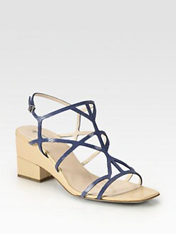 Giorgio Armani - Lizard-Print Leather Demi-Wedge Sandals