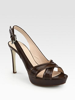 Giorgio Armani - Crisscross Leather Slingback Pumps
