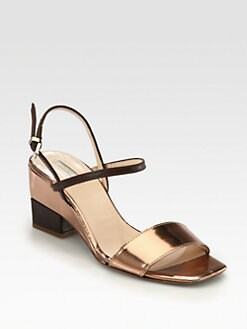 Giorgio Armani - Bicolor Metallic Leather Ankle Strap Sandals
