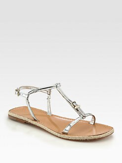 Giorgio Armani - Metallic Leather T-Strap Sandals