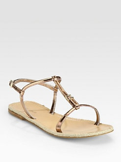 Giorgio Armani - Metallic Leather Espadrille Sandals