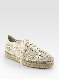 Ralph Lauren Collection - Cailin Raffia Lace-Up Espadrilles