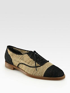 Ralph Lauren Collection - Quinifer Raffia & Leather Lace-Up Oxfords
