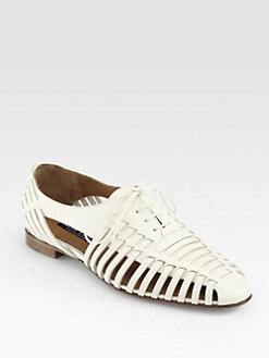 Ralph Lauren Collection - Quilissa Leather Cutout Lace-Up Oxfords