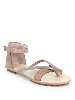 Brunello Cucinelli - Distressed Leather Beaded Sandals