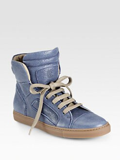 Brunello Cucinelli - Shiny Leather High Top Sneakers