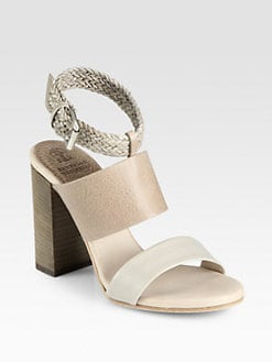 Brunello Cucinelli - Woven Patent Leather & Calfskin Sandals