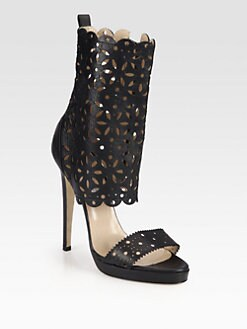 Oscar de la Renta - Charlotte Scalloped Leather Platform Sandals