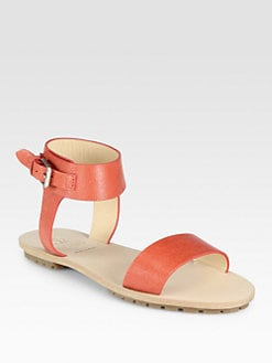 Brunello Cucinelli - Shiny Leather Ankle Strap Sandals