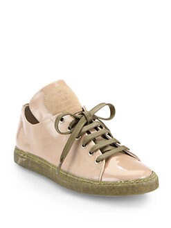 Brunello Cucinelli - Patent Leather Lace-Up Sneakers