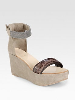Brunello Cucinelli - Leather & Suede Ankle Strap Wedge Sandals
