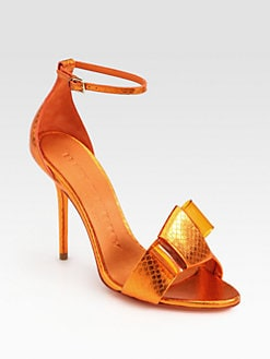 Burberry Prorsum - Berkeley Snakeskin Bow Sandals
