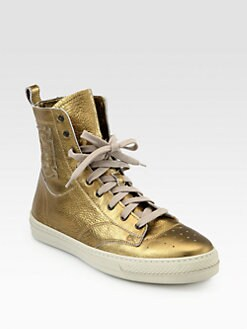 Burberry - Northfield Metallic Leather Lace-Up Sneakers
