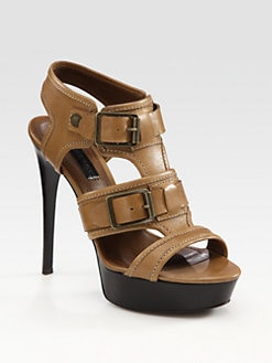 Burberry - Leather Platform Buckle Sandals