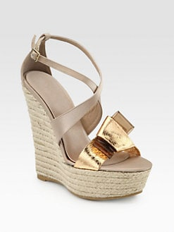 Burberry Prorsum - Osterley Snakeskin & Satin Espadrille Wedges