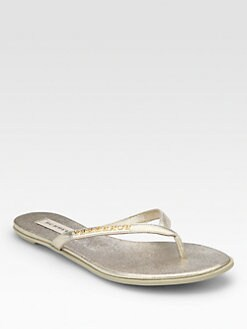 Burberry - Bloomhall Metallic Leather Thong Sandals