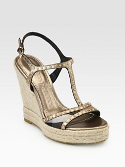 Burberry - Laleham Studded Metallic Leather Espadrille Sandals
