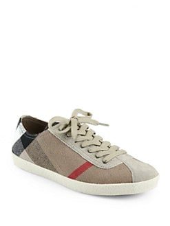Burberry - New Field Canvas & Suede Lace-Up Sneakers