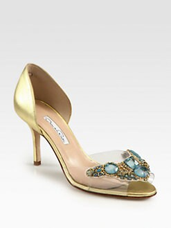 Oscar de la Renta - Mosh Embroidered Metallic Leather Pumps