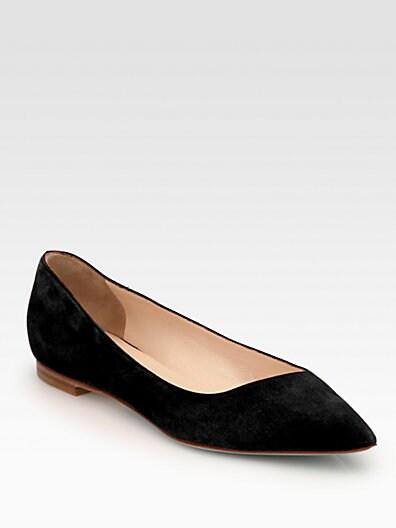 Asymmetrical Suede Ballet Flats