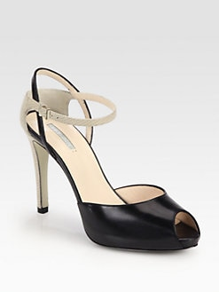 Giorgio Armani - Leather & Lizard-Embossed Leather Ankle Strap Pumps