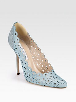 Oscar de la Renta - Scalloped Perforated Leather & Patent Leather Pumps