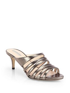 Giorgio Armani - Metallic Leather Slide Sandals