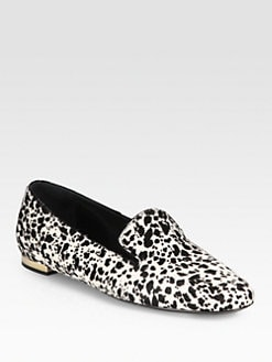 Burberry Prorsum - Animal-Print Calf Hair Smoking Slippers