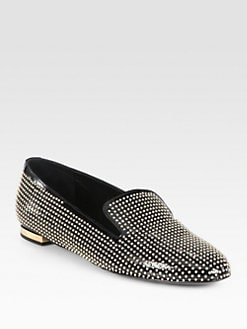 Burberry Prorsum - Studded Patent Leather Smoking Slippers