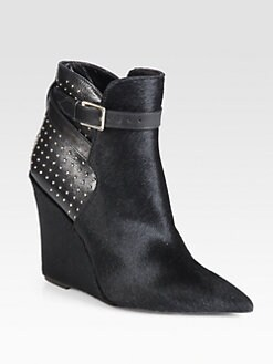 Burberry Prorsum - Calf Hair & Studded Leather Wedge Ankle Boots