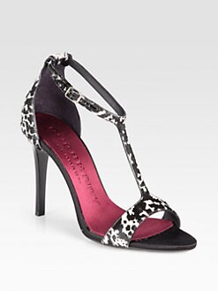 Burberry Prorsum - Animal-Print Calf Hair T-Strap Sandals