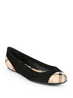Burberry - Highsmith Check Leather & Suede Ballet Flats