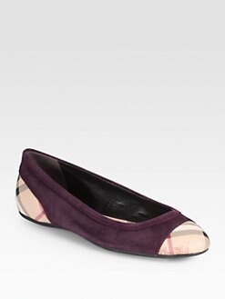 Burberry - Suede & Check-Print Leather Ballet Flats