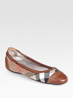 Burberry - Southwark Leather & Check Canvas Ballet Flats