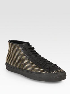 Burberry - LF Fingall Studded Leather Sneakers