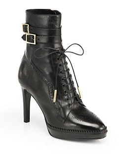 Burberry - Manners Leather Lace-Up Platform Ankle Boots