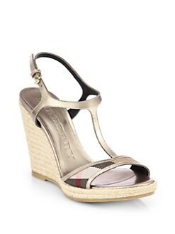 Burberry - Leeham Metallic Leather & Canvas Wedge Sandals