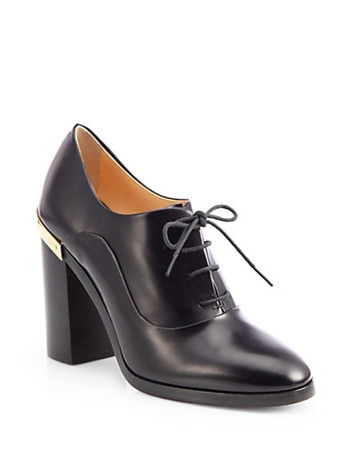 Leather Lace-Up Oxford Pumps