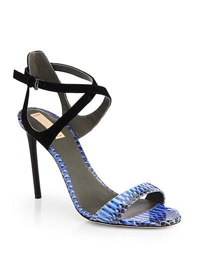 Snakeskin  Suede Sandals