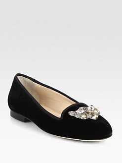Oscar de la Renta - Deneve Crystal-Encrusted Velvet Smoking Slippers